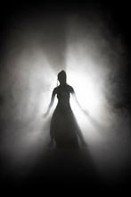 Silhouette Dancer Woman Performing Dance Figures In Fog.