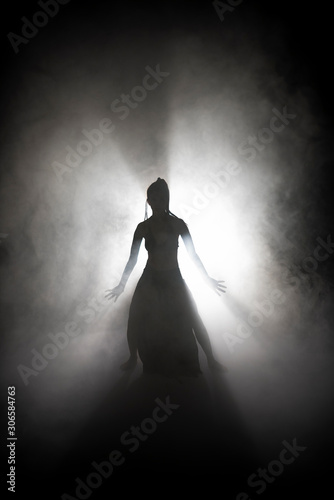 Photo Silhouette dancer woman performing dance figures in fog.