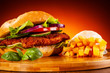 canvas print picture - Big hamburger and french fries