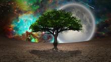 Surrealism. Green Tree Of Life...