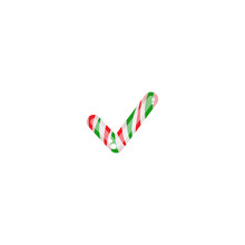 Striped Peppermint Candy In The Shape Of Check Mark. Glossy Christmas Valid Seal, Ok Sticker Icon Isolated On White.