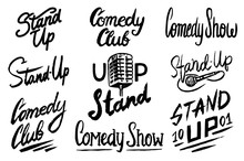 Lettering Stand Up. Calligraphic Text Comedy Show. Engraved Hand Drawn In Old Vintage Sketch For Poster, Web Badges, Labels, Emblem Or Logo. Isolated On White Background. Vector Illustration.