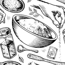 Sea Salt Seamless Pattern. Glass Bottles, Packaging And And Leaves, Wooden Spoons, Powdered Powder, Spice In The Hand. Vintage Background Poster. Engraved Hand Drawn Sketch.
