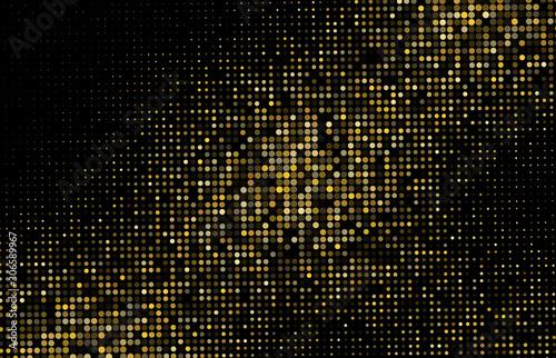Gold Glitter Halftone Dotted Backdrop. Vector Pattern Fototapet