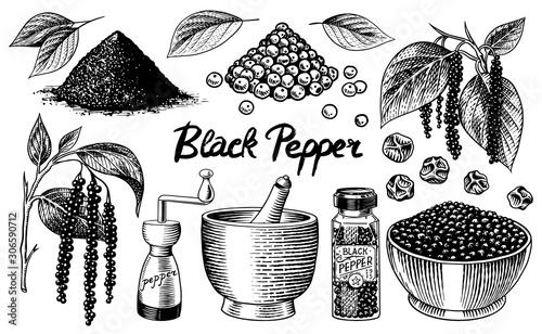 Foto Black pepper set in Vintage style