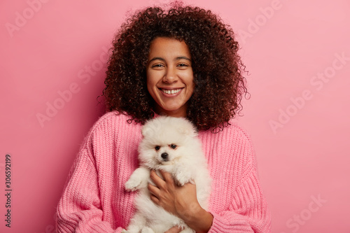 Fotografía  Positive African American woman poses with fluffy spitz on hands, petting dog, has glad expression to adopt domestic animal, wears knitted sweater, isolated over pink background