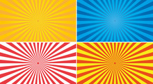 Sun Rays Vector Set. Yellow, Red, Red And Blue Abstract Background.