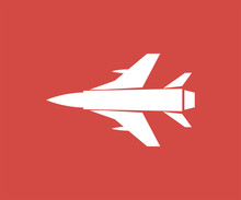 Aircraft Icon Sign Design Red Background