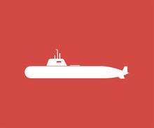 Submarine Icon Sign Design Red...
