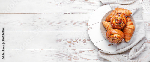 Sweet pastry on white wooden background