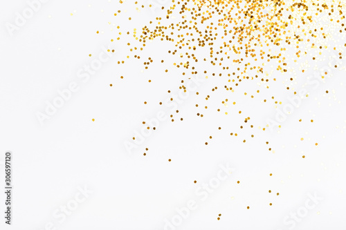 Obraz White background with golden glitter. Party concept. - fototapety do salonu