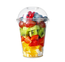 Cup With Tasty Fruit Salad On White Background