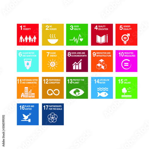 Sustainable Development Goals - the United Nations. SDG. Colorful icons.