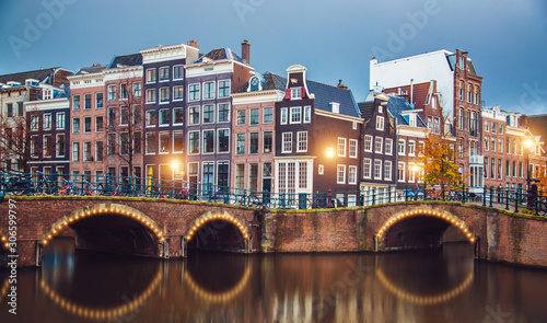 Stunning Amsterdam canals and typical dutch houses in capital of Netherlands, Eu Wallpaper Mural