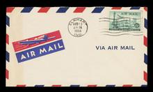 Luftpost Airmail Umschlag Envelope Vintage Retro Alt Old Briefmarke Stamps Gestemplet Used USA Amerika Flugzeug Plane New York Freiheitsstatue Statue Of Liberty Stadt Skyscrapers Wolkenkratzer 1950