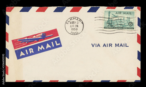Photo Luftpost airmail Umschlag envelope vintage retro alt old Briefmarke Stamps geste