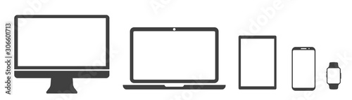 Set technology devices icon: tv, computer, laptop, tablet, smartphone. watch - stock vector