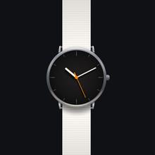 Modern Classic Watch On Black Background