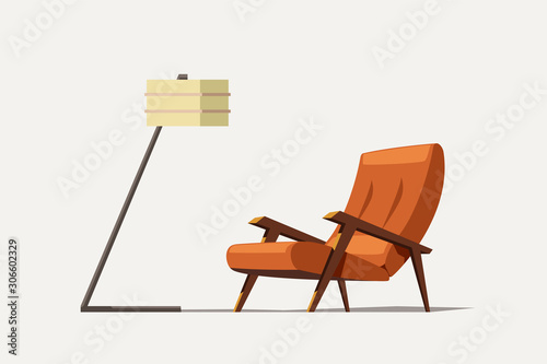 Fotografie, Obraz orange old modern armchair with lamp