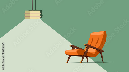 old modern armchair with lamp Wallpaper Mural