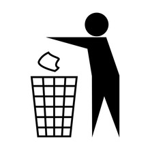 Vector Icon Throw In The Trash Isolated On White Background