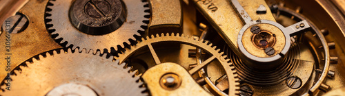 Fototapeta 100 years old pocket watch mechanics close up strip obraz