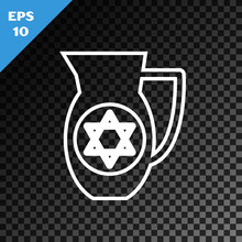 White Line Decanter With Star Of David Icon Isolated On Transparent Dark Background. Pottery Jug. Organic Product In Carafe. Vector Illustration