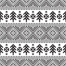 Knitted Christmas Ethnic Pattern On White Background. Ornament. Border. Seamless Sample. It Can Be Used As A Background. Vector Illustration.