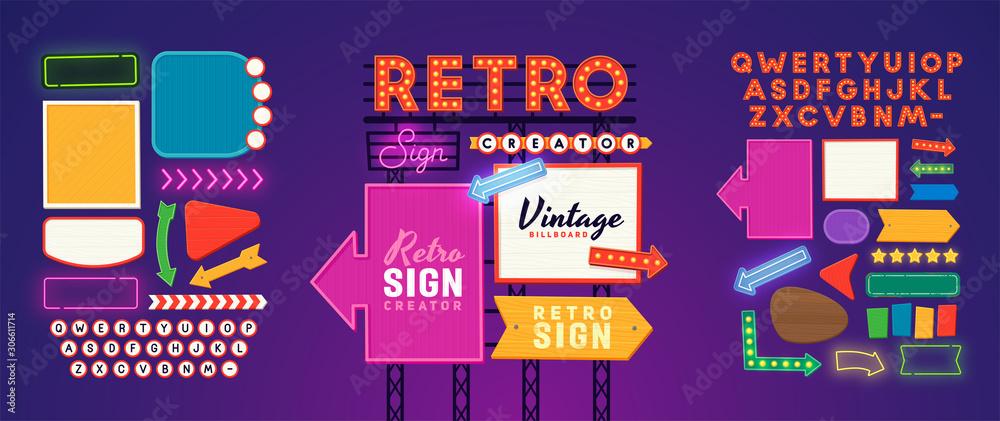 Fototapeta Retro signboard creator. Set elements for street sign. Scene creator, neon sign. Retro font. Advertising space.