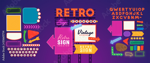 Fototapeta Retro signboard creator. Set elements for street sign. Scene creator, neon sign. Retro font. Advertising space.  obraz