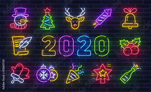 Christmas icon set. Merry Christmas and Happy New Year. Set neon icon, snowman, deer, fireworks, bell, wreath, sock. Bright signboard, light banner. Vector illustration