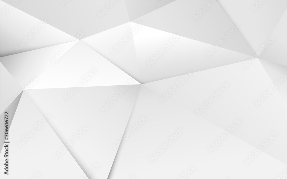 Fototapeta Abstract 3D geometric white polygon and triangles background