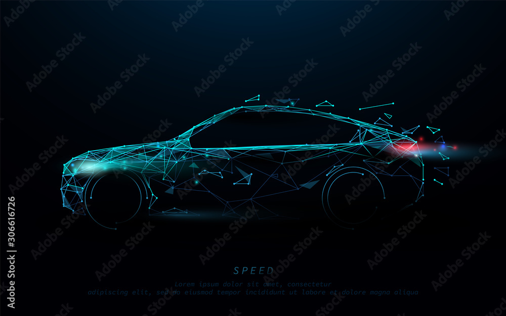 Fototapeta Abstract futuristic high speed sports car. Car logo form lines, triangles and particle style design. Illustration vector