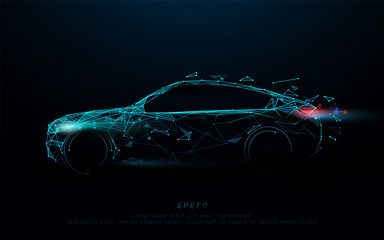 Abstract futuristic high speed sports car. Car logo form lines, triangles and particle style design. Illustration vector