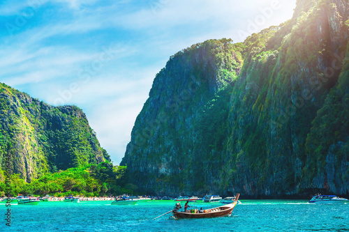 Fotografie, Obraz Beautiful nature scenic landscape of Maya bay with boat for traveler, Phi Phi is