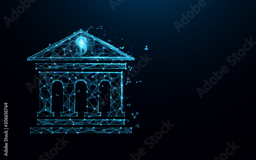 Foto Bank building icon form lines, triangles and particle style design