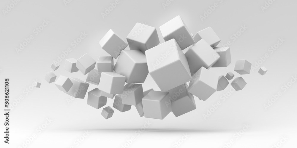 Illustration for advertising. Many flying cubes on a white background. 3d render illustration.