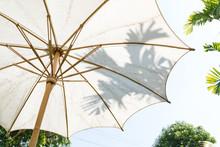 Handmade White Cotton Asian Garden Umbrella