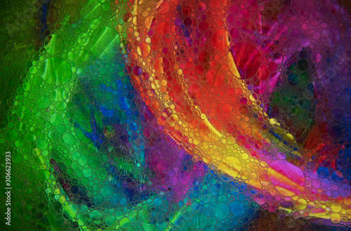 Fototapeta Mixing water and oil to form beautiful colorful abstract backgrounds  obraz