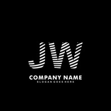 Initial Letter JW Zebra Style Wood Texture Template Logo
