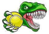 Fototapeta Fototapety na ścianę do pokoju dziecięcego - A dinosaur T Rex or raptor tennis player cartoon animal sports mascot holding a ball in its claw