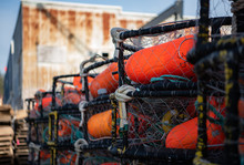 Rows Of Crab Pots Stacked On A...