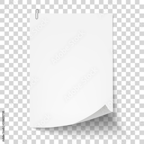 White sheet of paper with metal paper clip Canvas Print