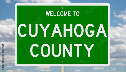 Rendering of a green 3d highway sign for Cuyahoga County Canvas Print