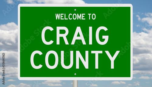 Rendering of a green 3d highway sign for Craig County Canvas Print