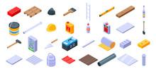 Construction Materials Icons Set. Isometric Set Of Construction Materials Vector Icons For Web Design Isolated On White Background