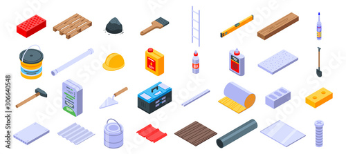 Valokuvatapetti Construction materials icons set