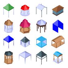 Gazebo Icons Set. Isometric Se...