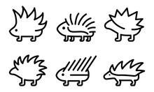 Porcupine Icons Set. Outline S...