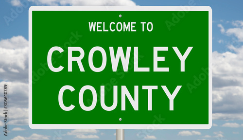 Rendering of a green 3d highway sign for Crowley County Wallpaper Mural